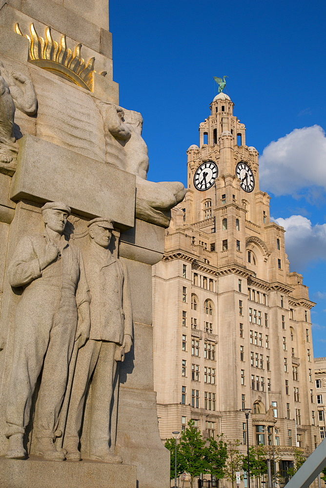 Royal Liver Building, Pier Head, UNESCO World Heritage Site, Liverpool, Merseyside, England, United Kingdom, Europe