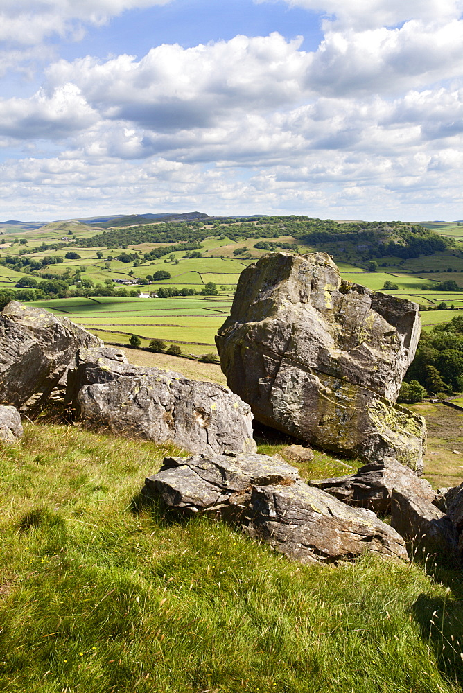 Crummack Dale from Norber near Austwick, Yorkshire Dales, Yorkshire, England, United Kingdom, Europe - 845-959