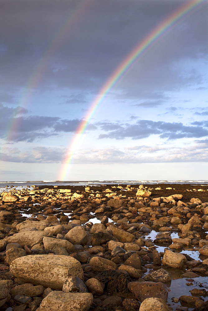 Rainbow over the sea at Robin Hoods Bay, Yorkshire, England, United Kingdom, Europe - 845-995