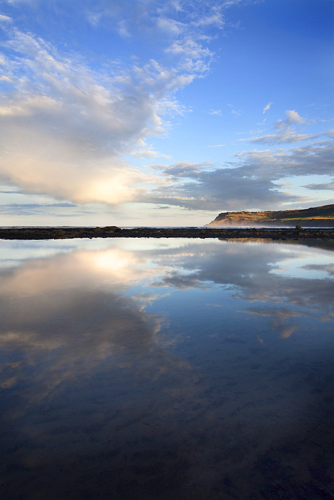 Looking toward Ravenscar from Robin Hoods Bay on a summer evening, Yorkshire, England, United Kingdom, Europe - 845-999