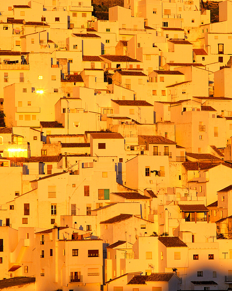 White Andalucian village at sunset, Casares, Andalucia, Spain, Europe - 846-1068