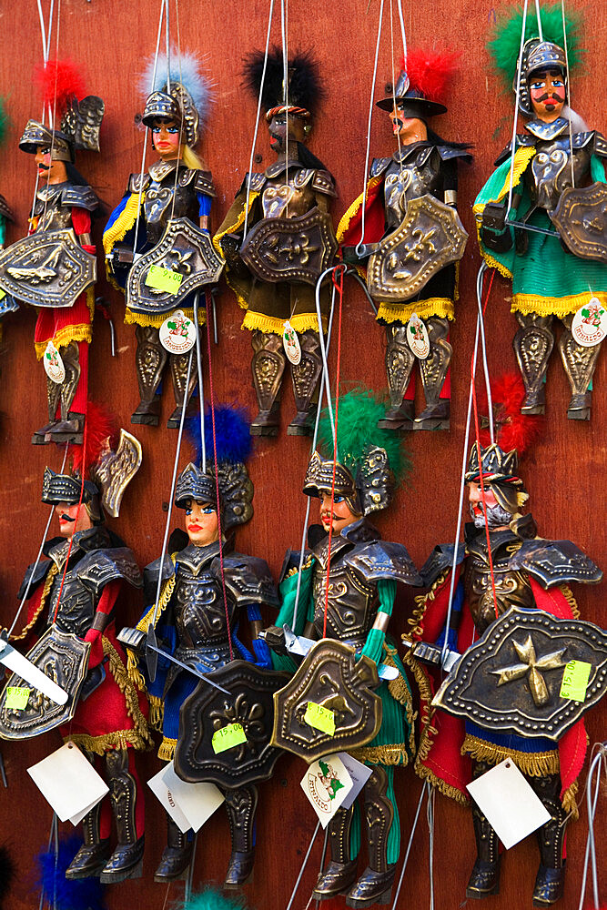 Traditional puppets in souvenir shop, Sicily, Italy, Europe - 846-165