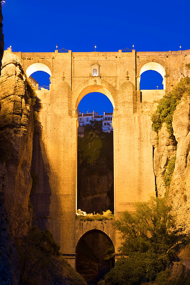 Puente Nuevo (New Bridge) floodlit at night, Ronda, Andalucia, Spain, Europe - 846-2935