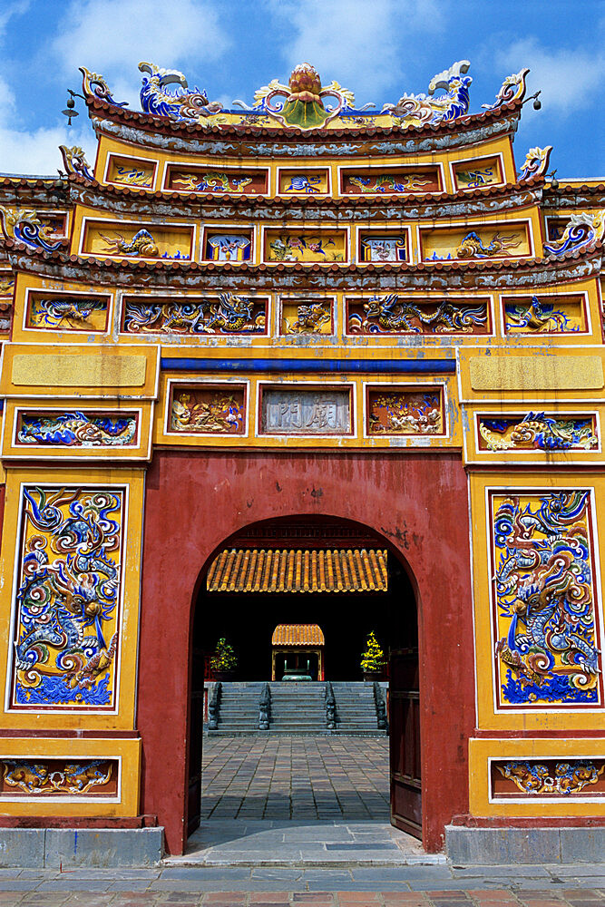 Chinese gateway inside Imperial city, The Citadel, Hue, UNESCO World Heritage Site, North Central Coast, Vietnam, Indochina, Southeast Asia, Asia - 846-315