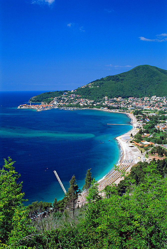 View over town and Slovenska Beach, Budva, The Budva Riviera, Montenegro, Europe - 846-333
