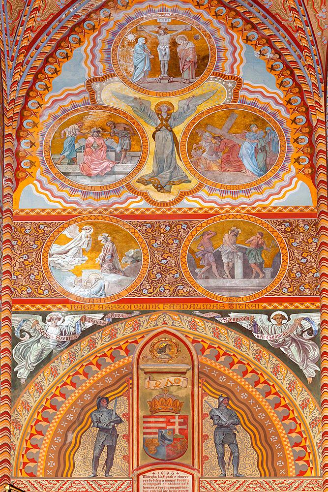 Frescoes decorating interior of Matthias Church (Matyas-Templom), UNESCO World Heritage Site, Buda, Budapest, Hungary, Europe - 846-432