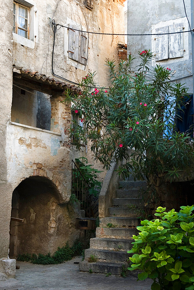 Courtyard in back alleyway of old town, Cres Town, Cres Island, Kvarner Gulf, Croatia, Europe - 846-618