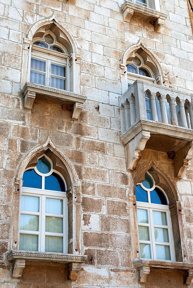 Window arches in old town, Porec, Istria, Croatia, Europe - 846-660