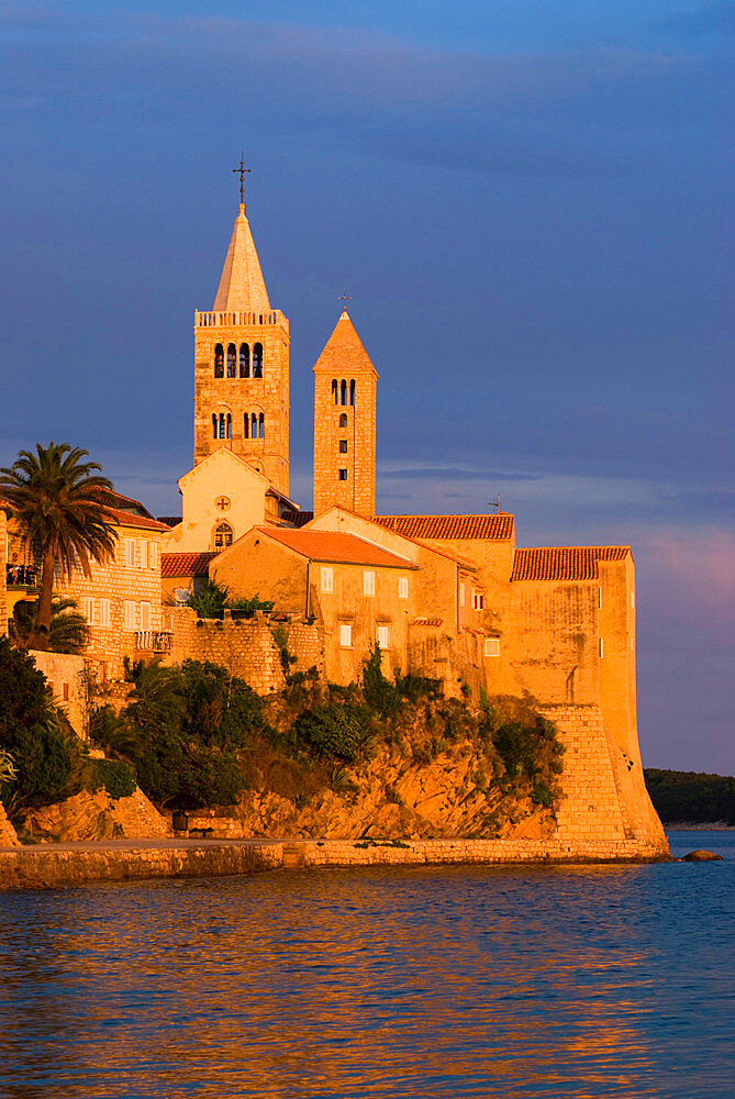 View of old town and campaniles at sunset, Rab Town, Rab Island, Kvarner Gulf, Croatia, Adriatic, Europe - 846-689