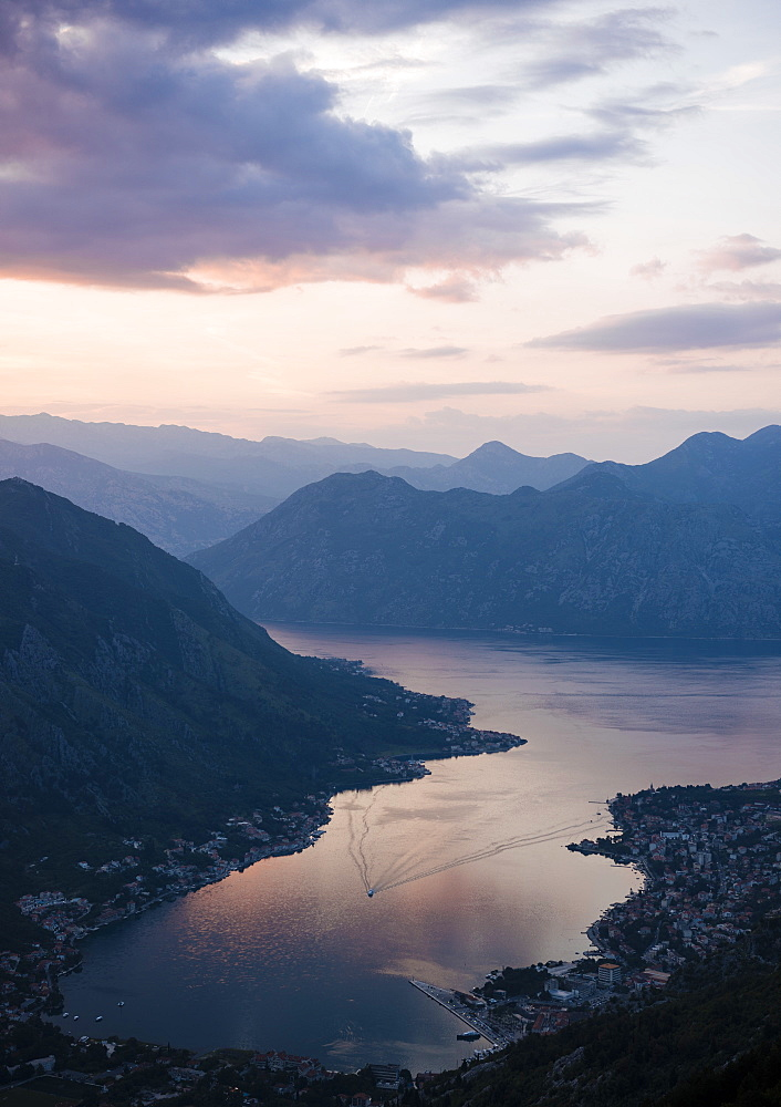 View of The Bay of Kotor at sunset, UNESCO World Heritage Site, Montenegro, Europe - 848-1389
