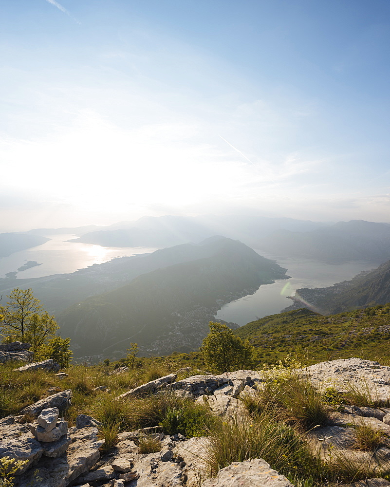 Views over Bay of Kotor, UNESCO World Heritage Site, from Lovcen National Park, Montenegro, Europe