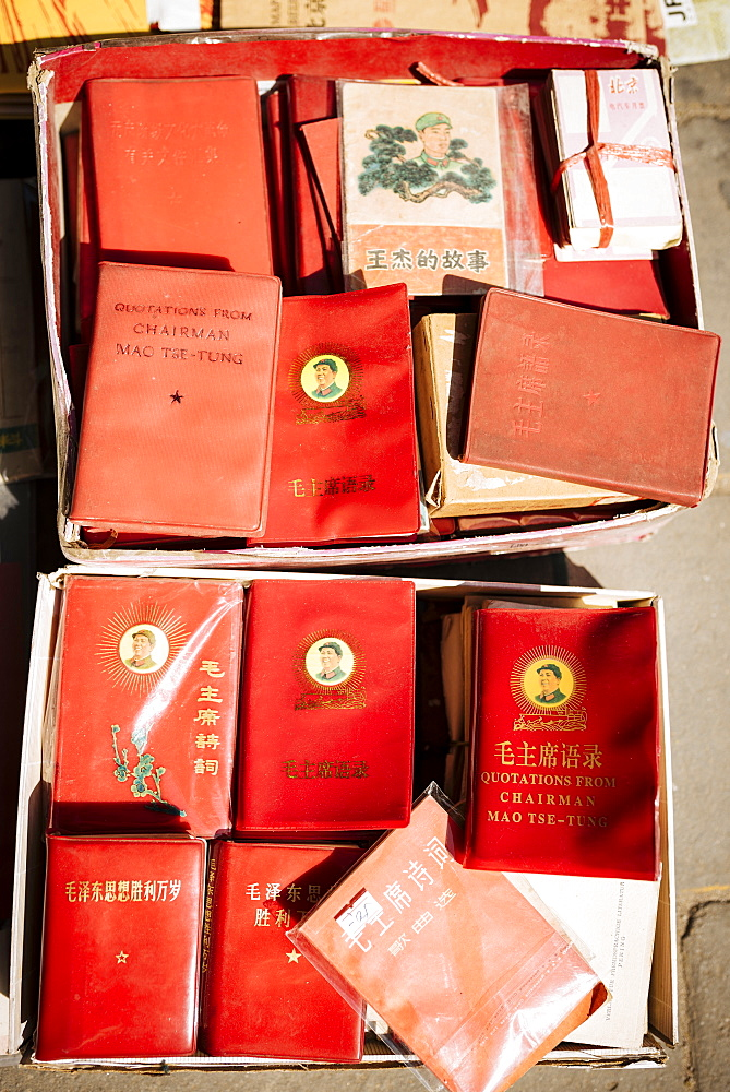 Chairman Mao's Little Red Books, Panjiayuan Flea Market, Beijing, China, Asia