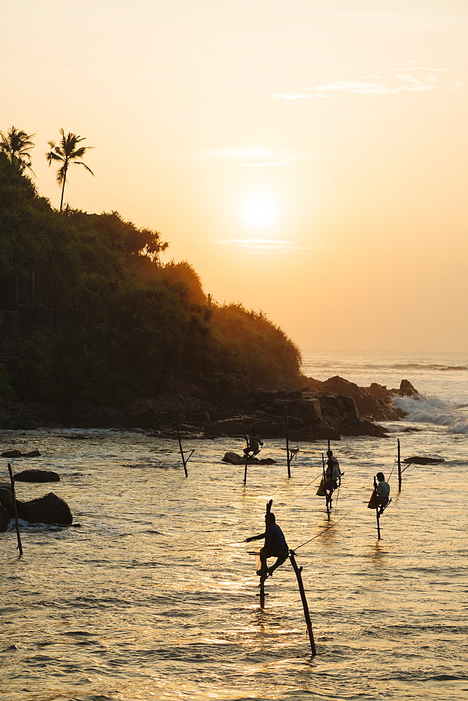 Stilt Fishermen at dawn, Weligama, South Coast, Sri Lanka, Asia - 848-1842