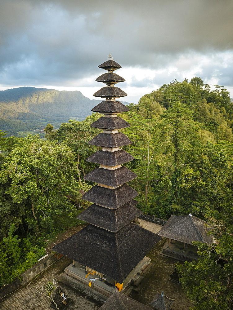 Aerial View of Pura Bukit Sangkan Gunung, Sidemen, Bali, Indonesia