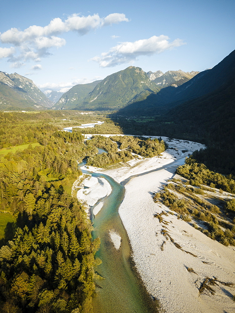 Aerial view by drone of Soca River, Julian Alps, Triglav National Park, Upper Carniola, Slovenia, Europe