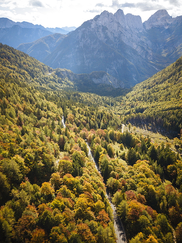 Aerial view by drone of Vrsic Pass, Julian Alps, Triglav National Park, Upper Carniola, Slovenia, Europe