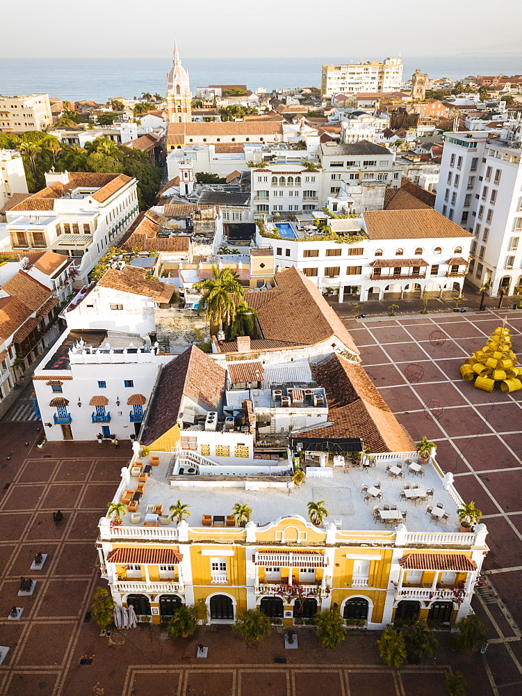 Aerial view by drone of Cartagena Old Town, Bolivar Department, Colombia, South America - 848-2062