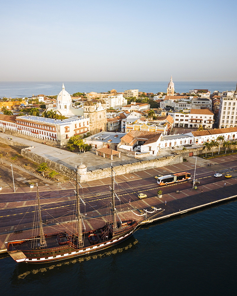 Aerial view by drone of Cartagena Old Town, Bolivar Department, Colombia, South America