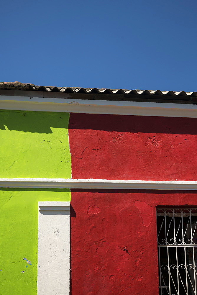 Facade of Colourful Building, Getsemani Barrio, Cartagena, Bolívar Department, Colombia, South America