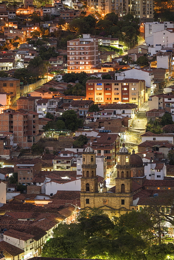 View of San Gil at night, San Gil, Santander, Colombia, South America