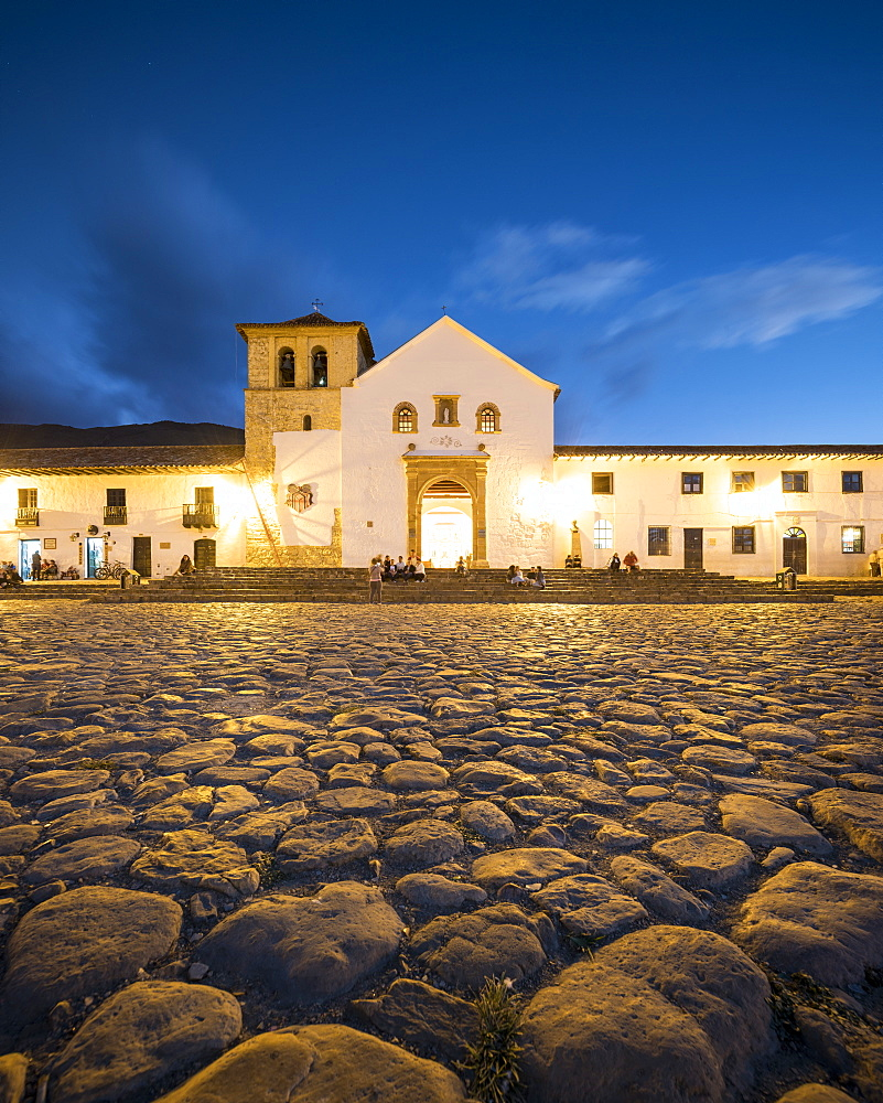 Plaza Mayor at Twilight, Villa de Leyva, Boyacá, Colombia, South America