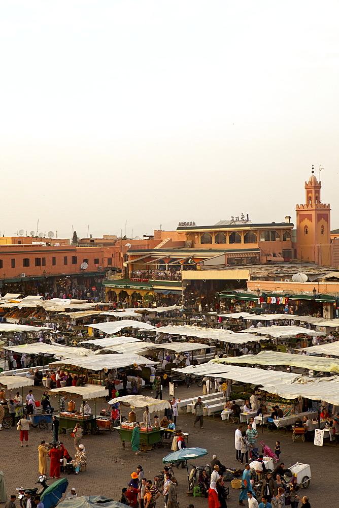 Marrakesh at dusk, Djemaa el-Fna, Marrakech, Morocco, North Africa, Africa