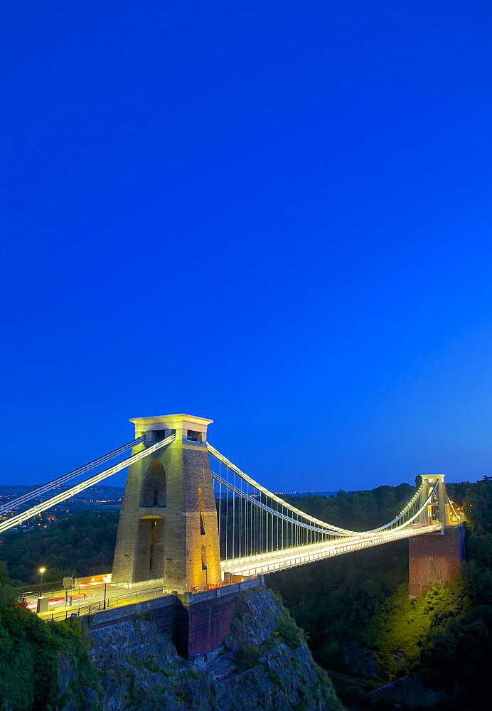 Clifton Suspension Bridge lit up at twilight, Bristol, England, United Kingdom, Europe