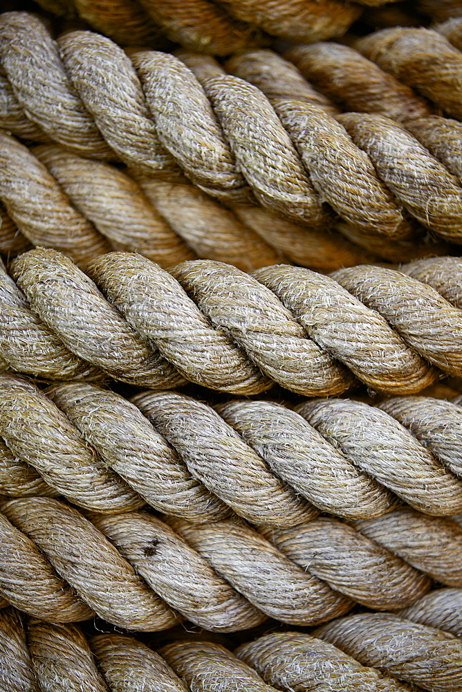 Close up of ship's ropes on the SS Great Britain, Bristol, England, United Kingdom, Europe
