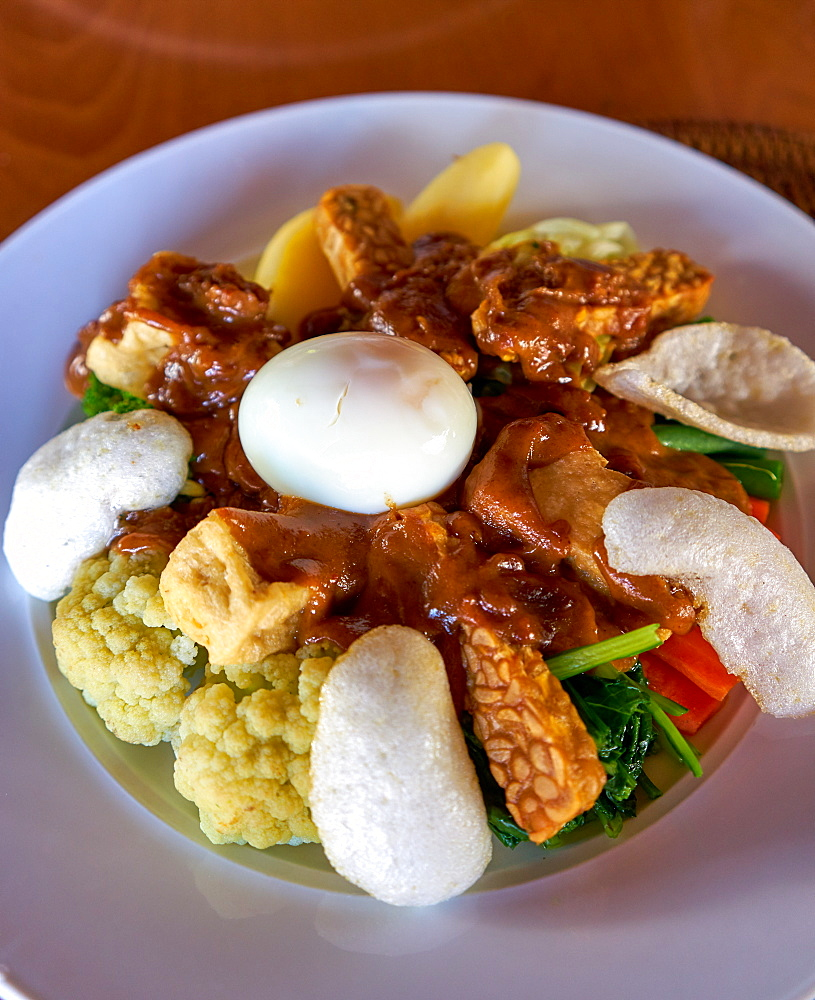Gado gado, an Indonesian national dish, with fried tofu and tempeh, Bali, Indonesia, Southeast Asia, Asia - 851-871