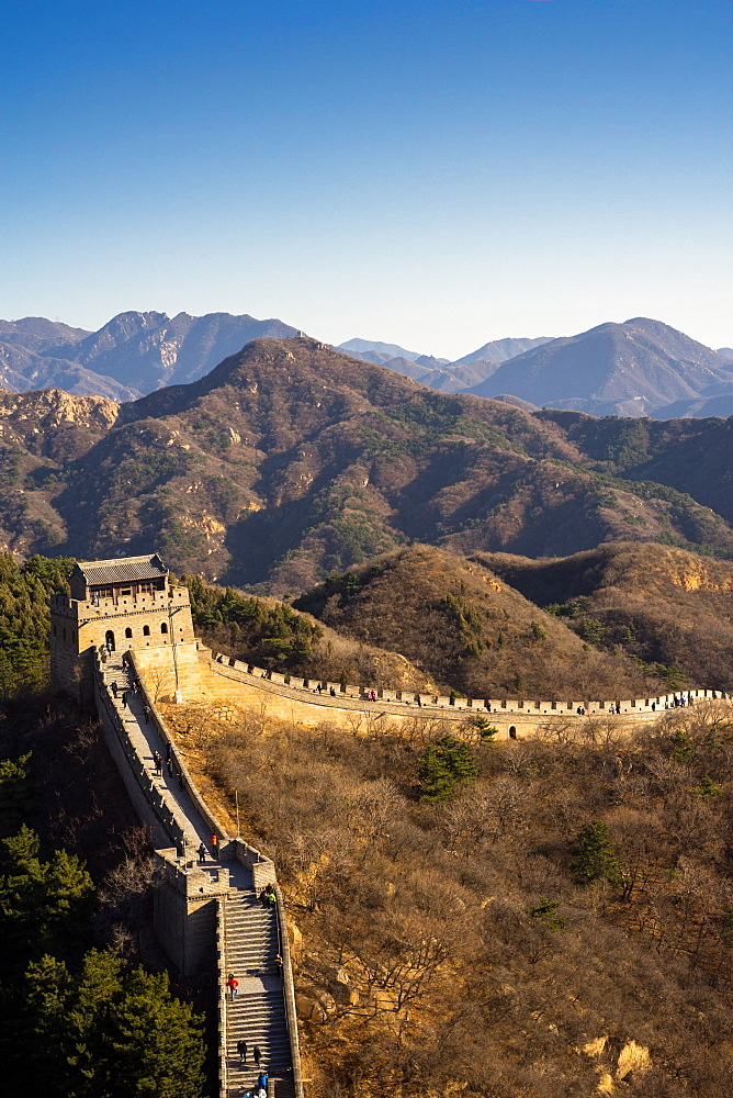 The Badaling section of the Great Wall of China in winter, UNESCO World Heritage Site, Badaling, China, Asia