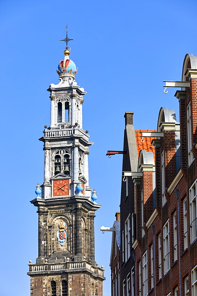 Westerkerk church and townhouse facades, Amsterdam, North Holland, The Netherlands, Europe - 851-889