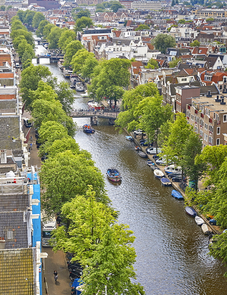 An aerial view of Prinsengracht Canal, Amsterdam, North Holland, The Netherlands, Europe - 851-890