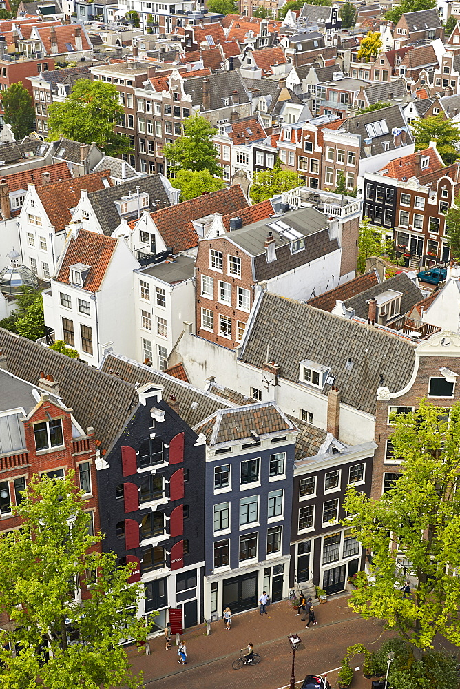 The rooftops and houses of the Jordaan in Amsterdam viewed from above, Amsterdam, North Holland, The Netherlands, Europe - 851-892