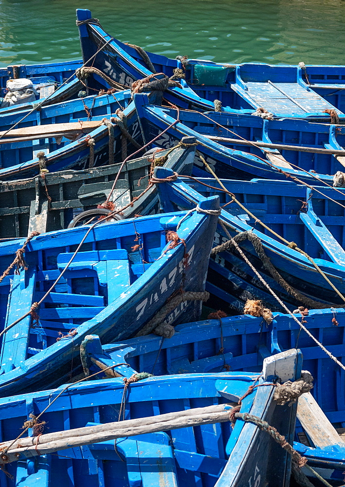 Blue boats bow to bow, Essaouira, Morocco, North Africa, Africa - 958-1197