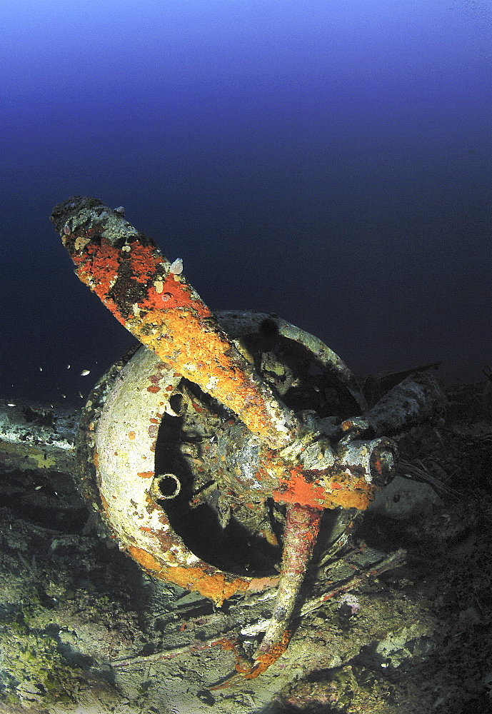 Remains of propeller and engine from wing of Blenheim Bomber , shot down during WWII, Malta, Maltese Islands, Mediterranean