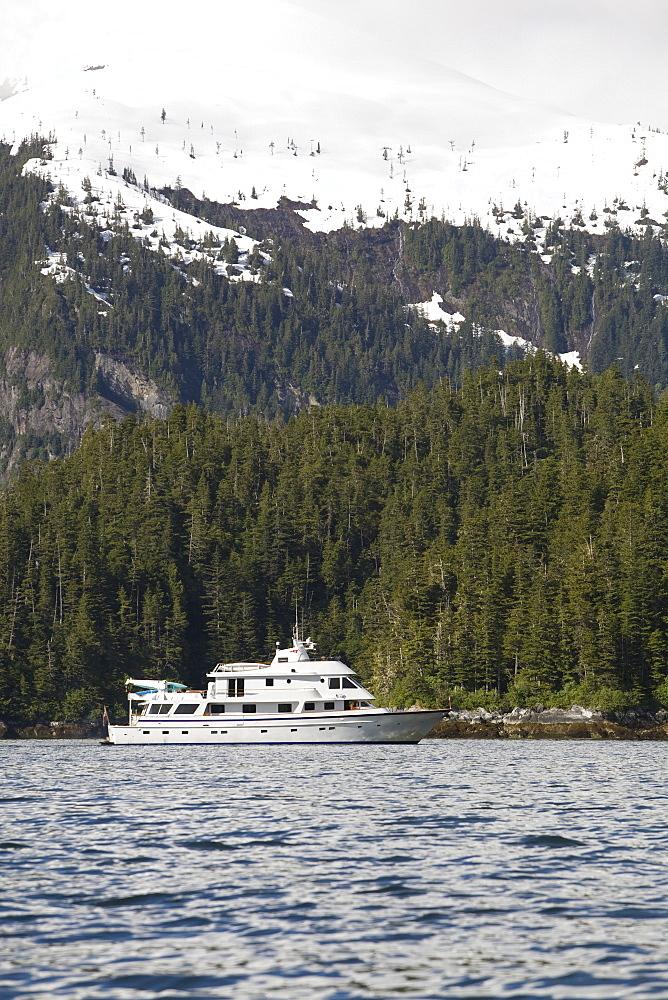 The American Safari Cruises yacht Safari Spirit operating in Southeast Alaska, USA. Pacific Ocean.