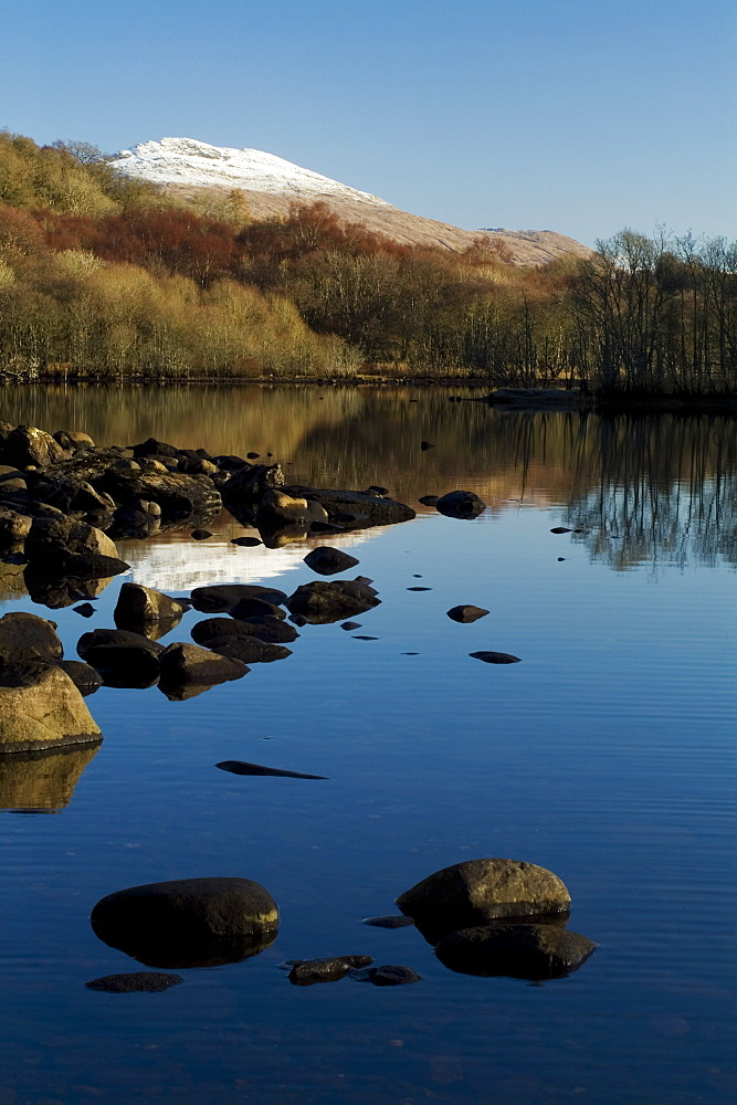 Loch Awe with snow capped Ben Cruachan in background.  Argyll, Scotland - 995-236