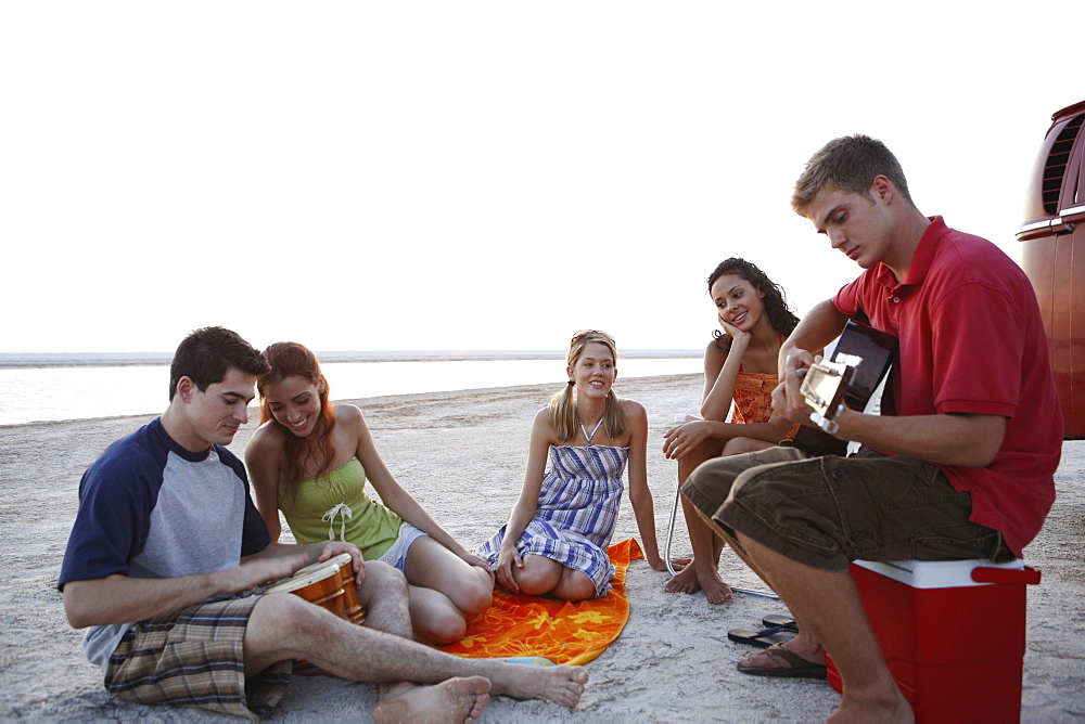 Friends socializing on beach