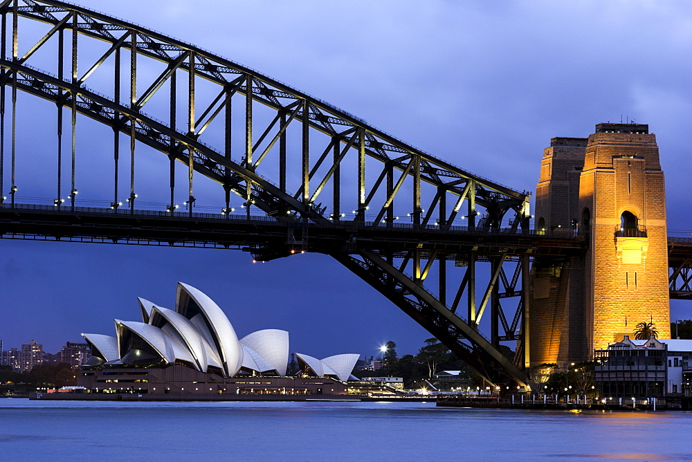 Cityscape view of bridge and Opera House, Sydney, NSW, Australia