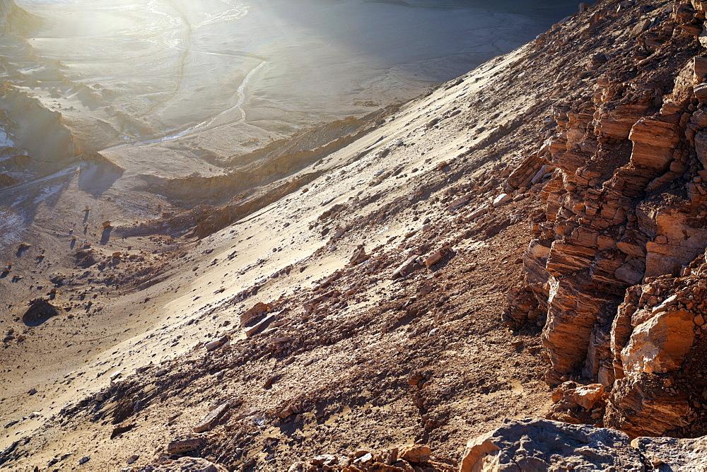 View to Valle de la Luna, Chile, Antofagasta Region, Atacama Desert, Valle de la Luna