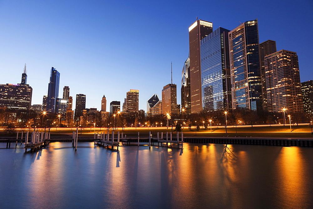 Skyline at dusk seen from marina, Chicago, Illinois