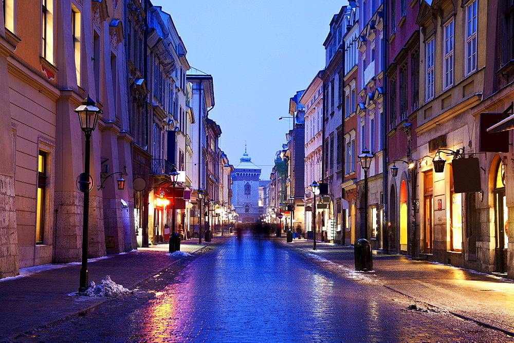 Dusk view of Florianska Street, Poland