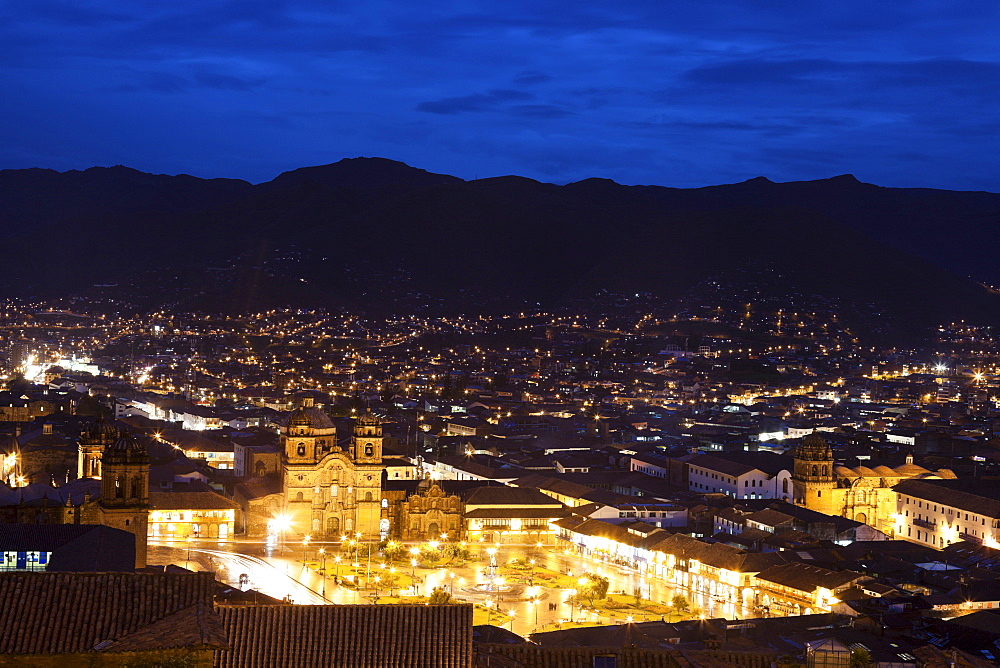 Cityscape at night, aerial view, Cuzco, Peru