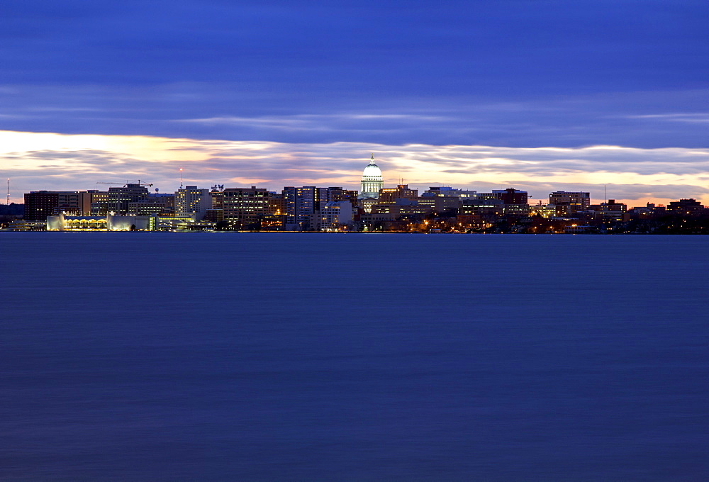 City skyline at sunset, Madison, Wisconsin