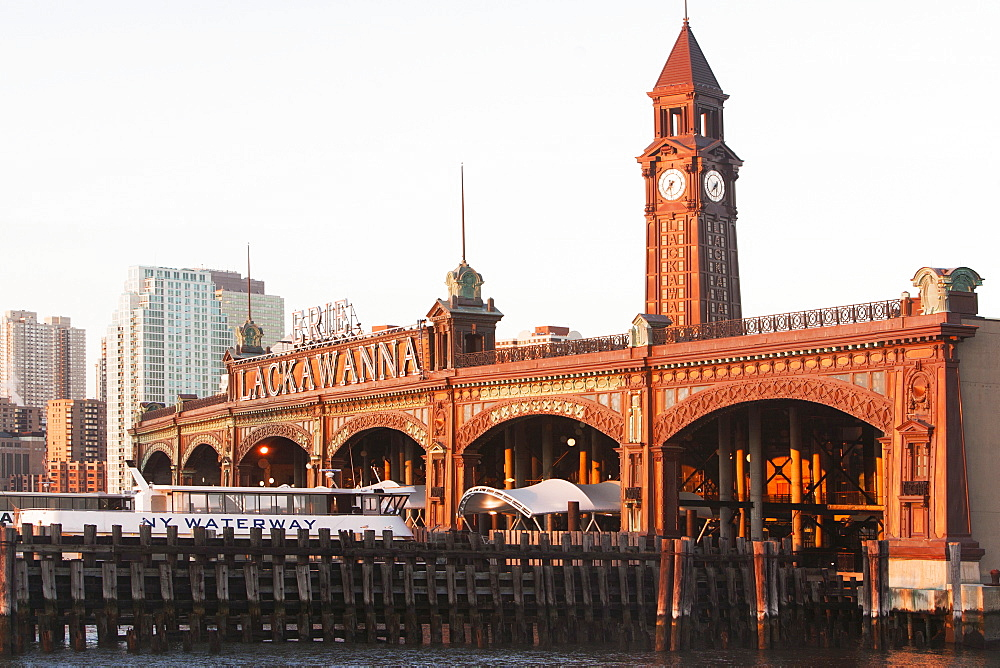 View of old railroad station, USA, New Jersey, Hoboken