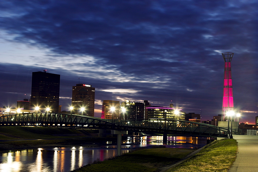 Cityscape at evening, Dayton, Ohio