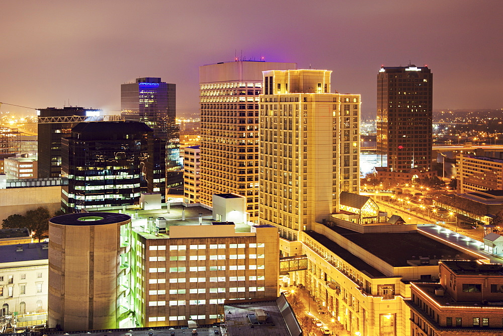 Cityscape at evening, Norfolk, Virginia