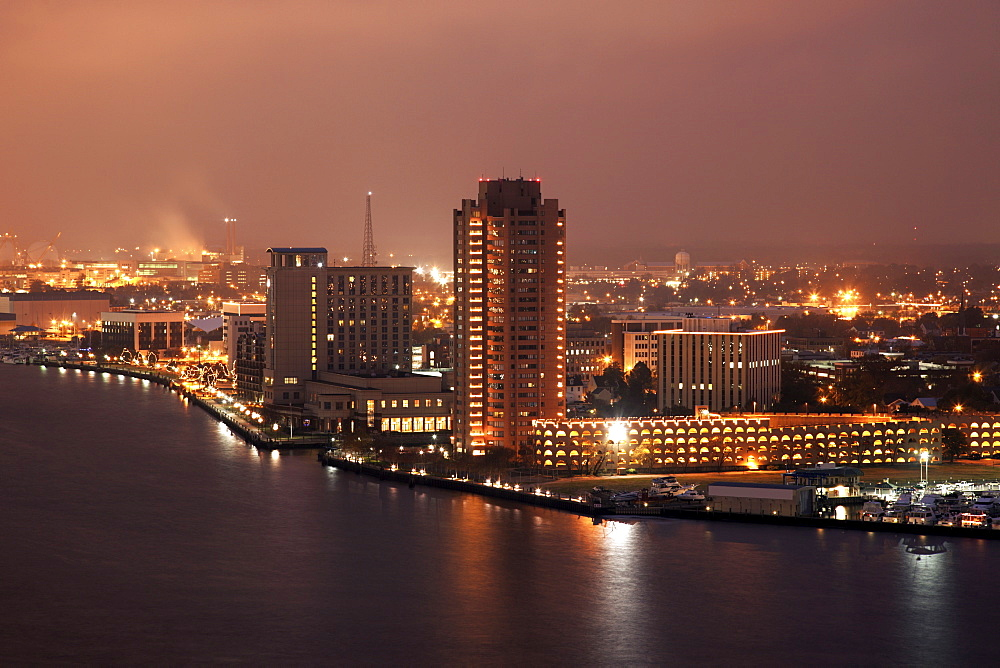 Cityscape at night, Norfolk, Virginia