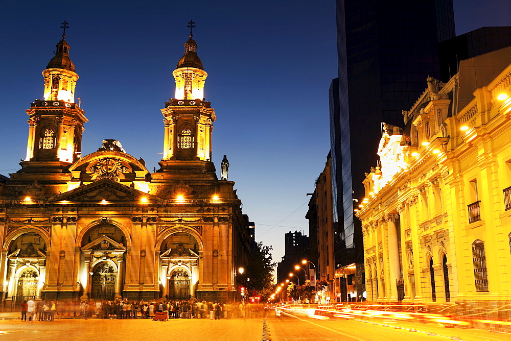 Illuminated Plaza de Armas in capital city, Chile