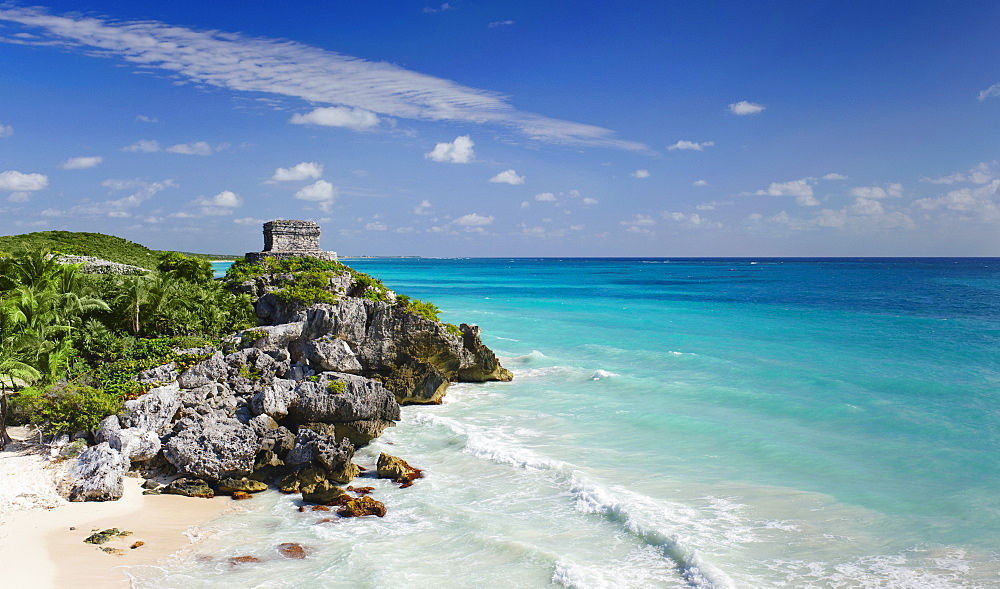Beach with ancient Mayan ruins